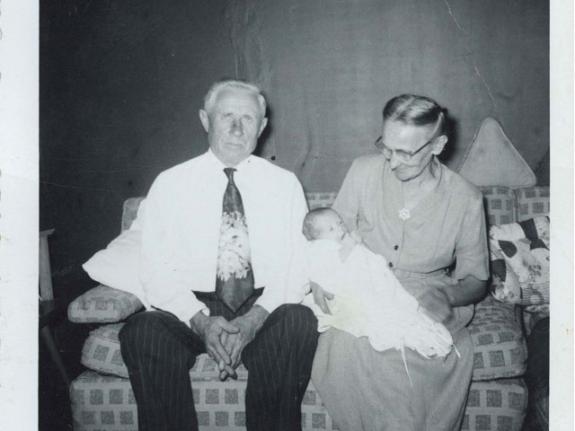 Grandma and Grandpa Gutowski with unknown baby